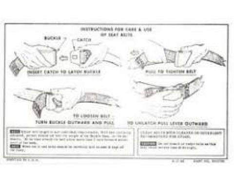 Camaro Seat Belt Instructions Card, 1967