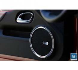 Camaro Speaker Ring, Polished, Black RS Emblem, 2010-2013