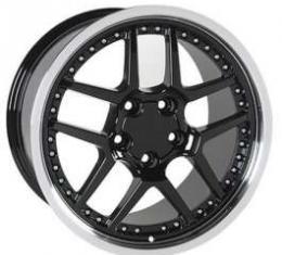 Camaro 18 X 10.5 Z06 Style Wheel, Black With Machined Lip & Rivets, 1993-2002