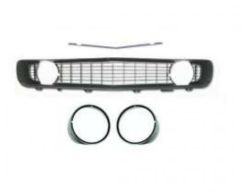 Camaro Grille Kit, With Black Grille & Silver Headlight Bezels With Trim, For Cars With Standard Trim (Non-Rally Sport), 1969