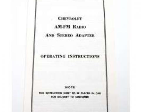 Camaro AM-FM Radio & Stereo Adapter Operating Instructions Booklet, 1968