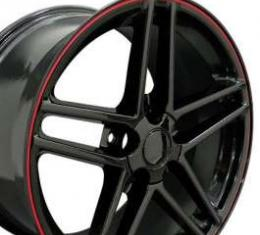 Camaro 18 X 10.5 C6 Z06 Reproduction Wheel, Black With Red Banding, 1993-2002