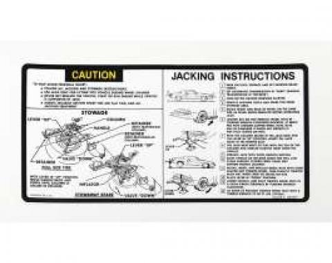 Camaro Jacking Instructions Decal, 1980