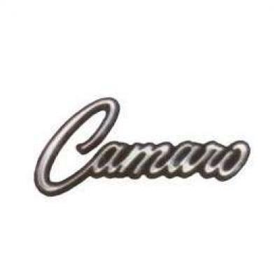 Camaro Glove Box Door Emblem, Camaro Script, With Mounting Clips, 1968