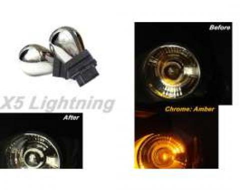 Light Bulbs, 3157, Chrome X5 Lightning Amber Silver Stealth