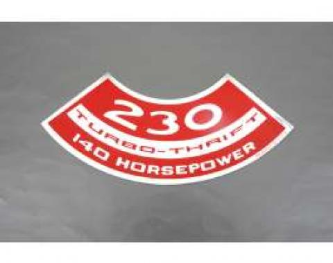 Camaro Air Cleaner Decal, 230 Turbo-Thrift 140 Horsepower, 1967-1969