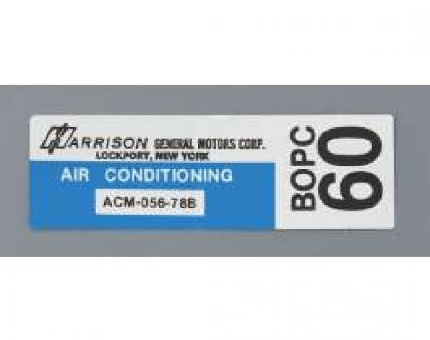 Camaro Air Conditioning Evaporator Box Decal, Harrison, 1978