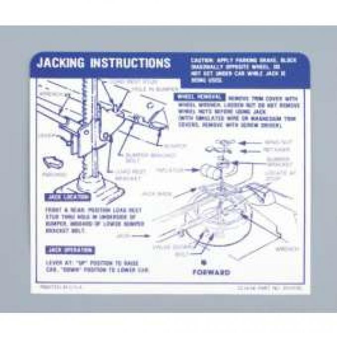 Camaro Jacking Instructions Decal, Trunk, Convertible, 1967-1968