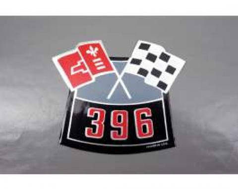 Camaro Air Cleaner Decal, 396 Crossed Flags, 1967-1969