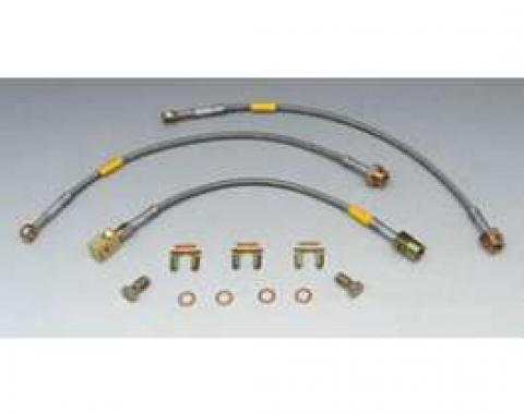 Camaro Braided Disc Brake Hose Kit, Stainless Steel, With Rear Drum Brakes, Goodridge, 1982-1983