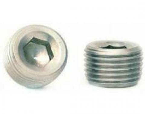 Camaro Intake Manifold Hole Plug, 3/8 Pipe Thread, Recessed Socket Drive, Stainless Steel, 1967-2002