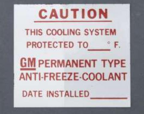 Camaro Dealer Installed Anti-Freeze Decal, 1967-1972