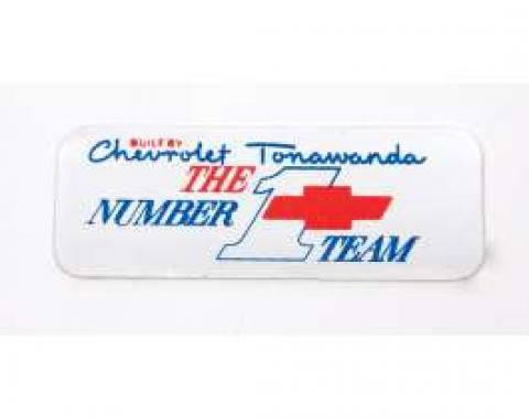 Camaro Valve Cover Decal, Number 1 Team Tonawanda, Big Block, 1967-1972