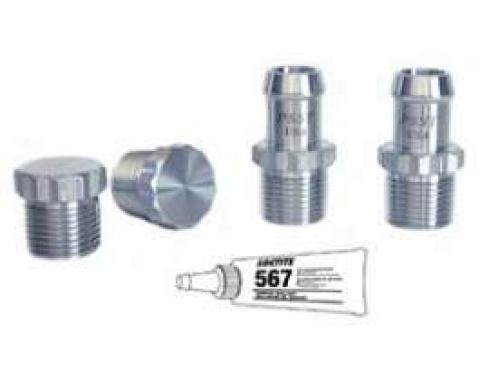 Camaro Intake & Water Pump Heater Hose Fitting Kit, Stainless Steel, With 12 Point Head, Small Block, 1967-1992