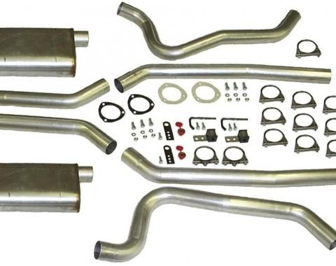"Camaro Dual Exhaust System, Headers Back, Small Block, 2-1/2"", Aluminized, 1970-1974"