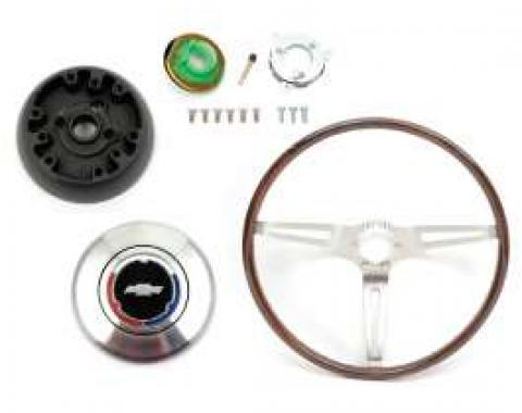 Camaro Deluxe Wood Steering Wheel Kit, Rosewood, For Cars With Non-Tilt Steering Column, 1969