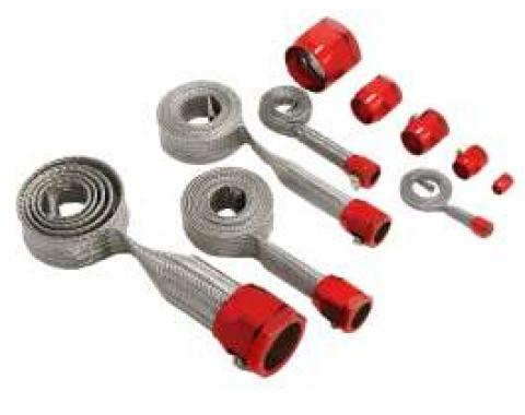 Camaro Hose Cover Kit, Stainless Steel, Braided, Universal, With Red Clamps, 1967-2002