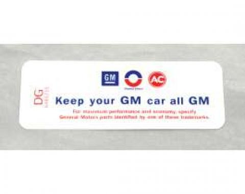 "Camaro Air Cleaner Decal, ""Keep Your GM Car All GM"", For Cars With Cowl Induction, DG, 1969-1971"