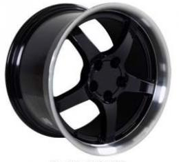 Camaro 18 X 10.5 C5 Style Deep Dish Reproduction Wheel, Black With Machined Lip, 1993-2002