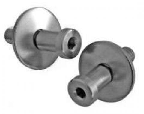 Camaro Door Lock Striker, Stainless Steel, Pair, 1967-1981