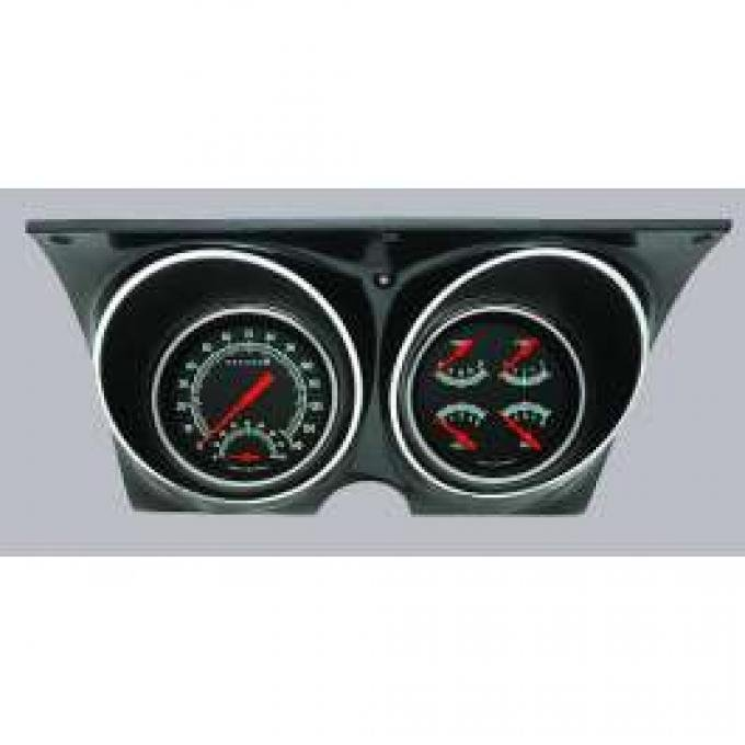 Camaro Updated Gauge Kit, With Black Dials & Green Numbers/Orange Needles, Classic Instruments, 1967-1968