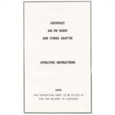 Camaro AM-FM Radio & Stereo Adapter Operating Instructions Booklet, 1967