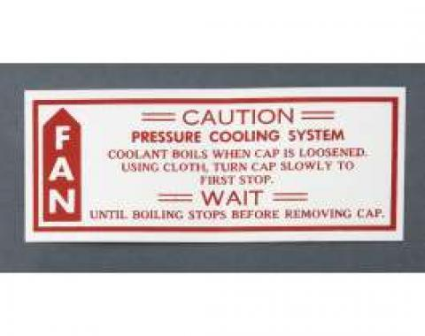 Camaro Caution Cooling/Fan Decal, 1979-1980