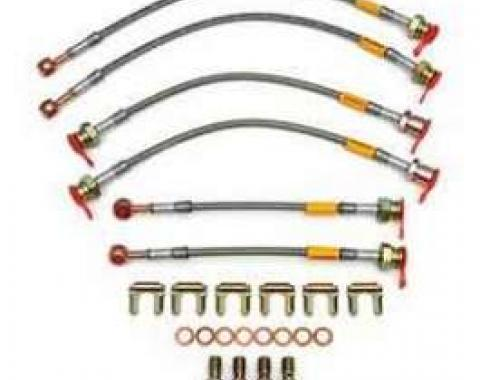 Camaro Braided Disc Brake Hose Kit, Stainless Steel, With Traction Control, Goodridge, 1998-2002