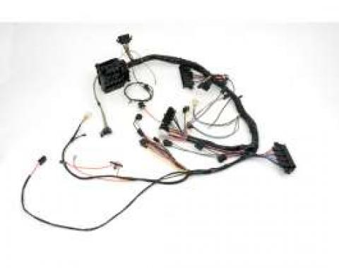 Camaro Under Dash Main Wiring Harness, For Cars With Manual Transmission Console Shift, Tachometer, Center Fuel Gauge &Warning Lights, 1969