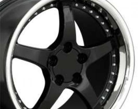 Camaro 18 X 10.5 C5 Style Deep Dish Reproduction Wheel, Black With Rivets, 1993-2002