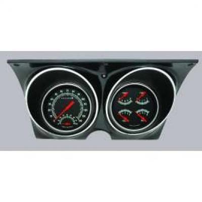 Camaro Updated Gauge Kit, With Black Dials & Green Numbers/Orange Needles, Classic Instruments, 1967-1968