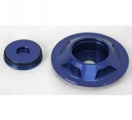 Camaro Shock Tower Caps, Billet Blue Aluminum Finish, 2010-2011