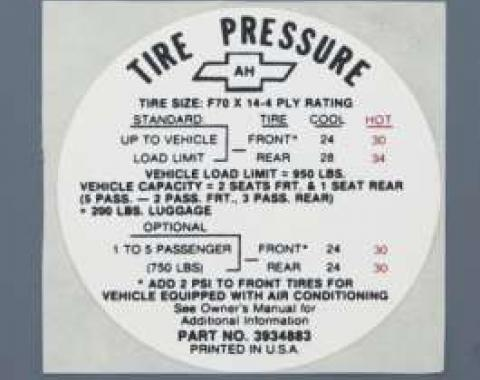 Camaro Tire Pressure Decal, SS, Glove Box Door, 1968
