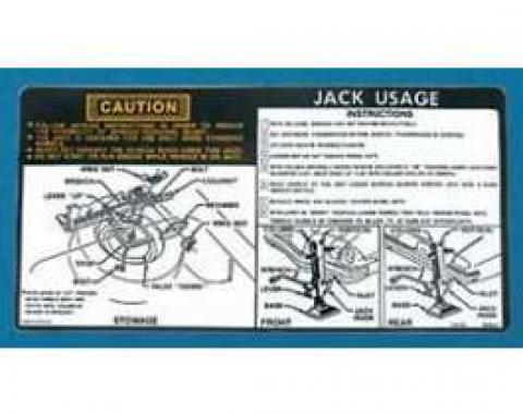 Camaro Jacking Instructions Decal, 1976-1977