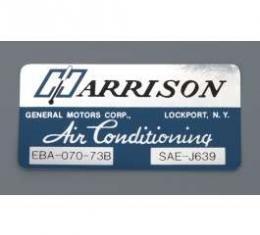 Camaro Air Conditioning Evaporator Box Decal, Harrison, 1973