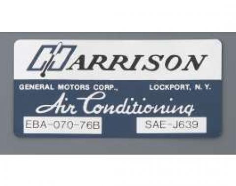 Camaro Air Conditioning Evaporator Box Decal, Harrison, 1976