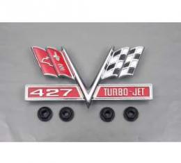 Camaro Fender Emblem, 427 Turbo-Jet, V-Flag, 1967-1969