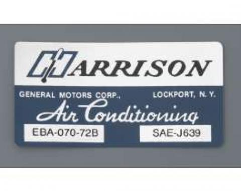 Camaro Air Conditioning Evaporator Box Decal, Harrison, 1972