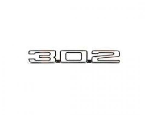 Camaro Hood Emblem, 302 (Numerals), For Cars With Cowl Induction Hood, 1969