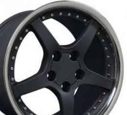 Camaro 18 X 9.5 C5 Style Deep Dish Reproduction Wheel, Matte Black With Rivets, 1993-2002