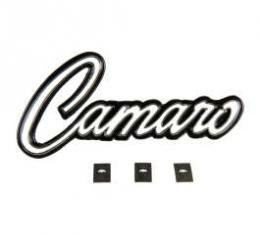 Camaro Dash Trim Plate Emblem, Camaro Script, With Mounting Clips, 1969