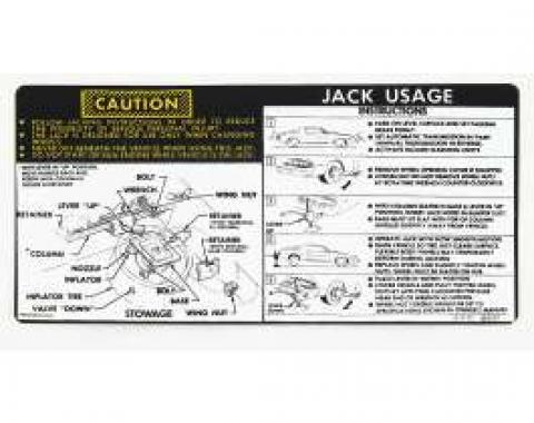 Camaro Jacking Instructions Decal, With Space Saver Spare, 1978-1979