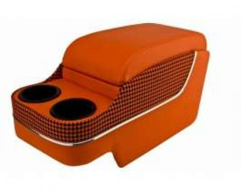 Camaro Custom Deluxe SS Floor Console, With Drink Holders, Houndstooth, With Chrome Trim, Orange & Black, 1967-1969