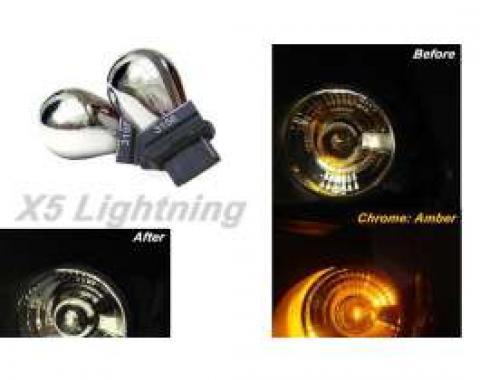Light Bulbs, 3156, Chrome X5 Lightning Amber Silver Stealth