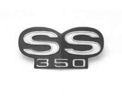 Camaro Grille Emblem, SS350, For Cars With Standard (Non-Rally Sport) Grille Or With Rally Sport (RS) Grille, 1967