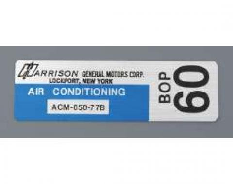 Camaro Air Conditioning Evaporator Box Decal, Harrison, 1977