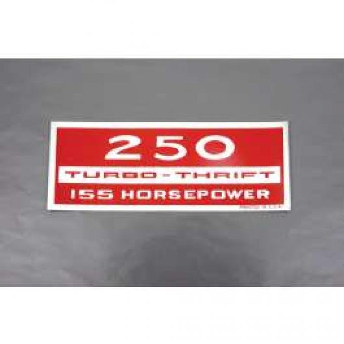Camaro Valve Cover Decal, 250 Turbo Thrift 155 Horsepower, 1967-1969