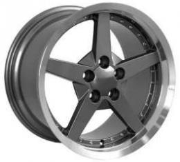 Camaro 18 X 10.5 C6 Style Deep Dish With Rivets Reproduction Wheel, Gunmetal, 1993-2002