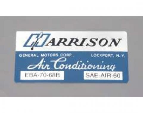 Camaro Air Conditioning Evaporator Box Decal, Harrison, 1968