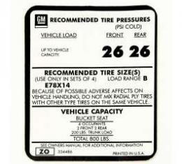 Camaro Tire Pressure, 1973-1974